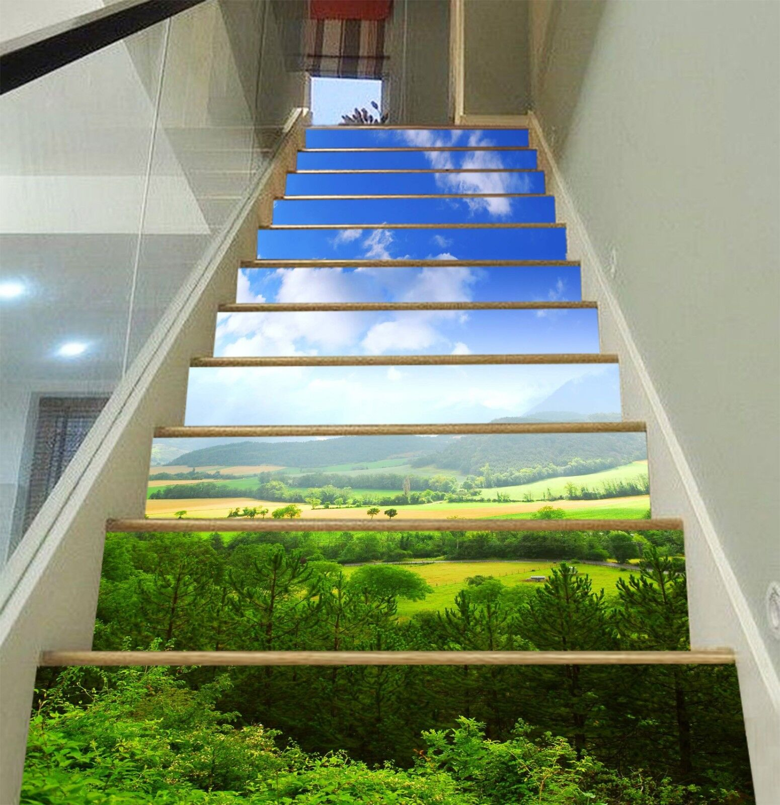 3D Forest Photo Sky 16 Stair Risers Decoration Photo Forest Mural Vinyl Decal Wallpaper CA bccb43