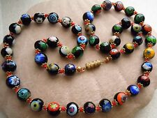 "Vintage Venetian Glass Millefiori Bead 24""l Hand Knotted Necklace Estate Lot"