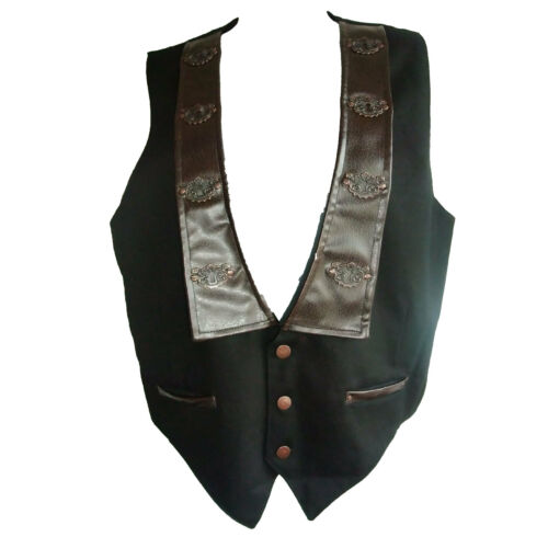 Smpunk Waistcoat in Black + Ornate Keyhole Trim on Brown Faux Leather Collar