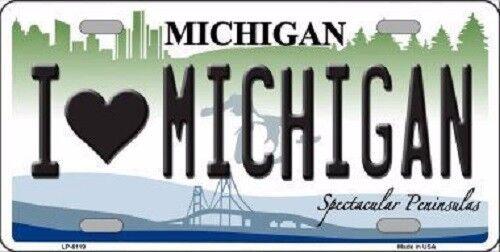 I Love Michigan Metal Novelty License Plate
