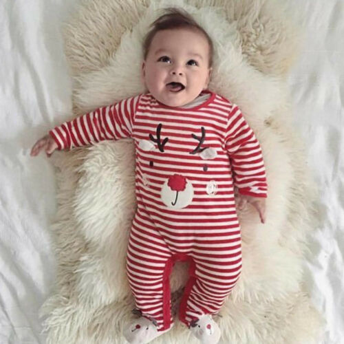 Newborn Toddler Baby Kids Boy Girl Christmas Outfit Romper Jumpsuit Playsuit LCT
