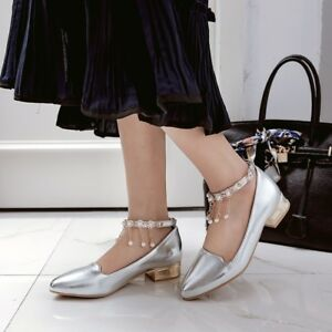 Womens Chunky Low Heels Pointed Toe Pumps Beaded Buckle Patent ... 5d7c009d8
