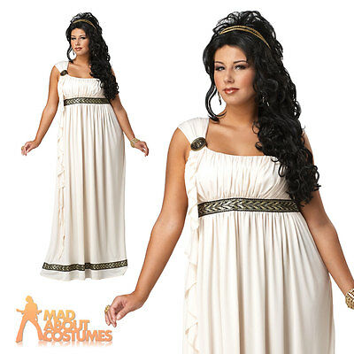 Adult Plus Size Toga Costume Greek Olympic Goddess Ladies Fancy Dress Outfit New