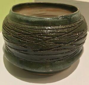 Vintage-70s-Ceramic-Stoneware-Planter-Vessel-Retro-Pottery-Mid-Century-Modern