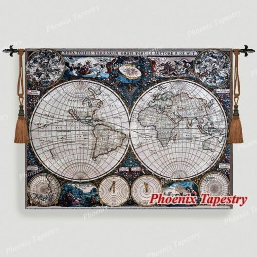 "Old World Map Medieval Fine Art Tapestry Wall Hanging, Cotton 100%, 55""x43"", AU"