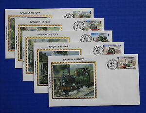 "Jersey (361-365) 1985 Railway History Colorano ""Silk"" FDCs"