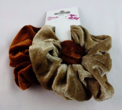 Velour scrunchies brown beige solid colors set of two ponytail holders twisters