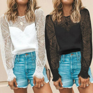 New-Women-Plus-Size-Crochet-Lace-Floral-Top-Tee-T-Shirt-Puff-Sleeve-Sheer-Blouse
