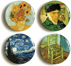 4-x-VINCENT-VAN-GOGH-BADGE-BUTTON-PINS-1inch-25mm-diameter-ART-SUNFLOWERS