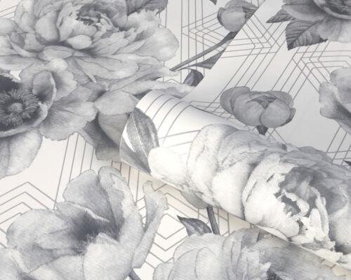 9752 Belgravia Decor Glitter Shimmer Luxury Vinyl Roses Wallpaper-Mono//Grey
