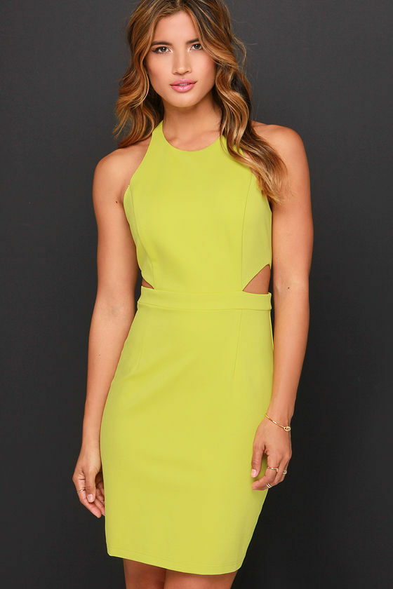 Serves You Bright Chartreuse Dress Lime Size (L)