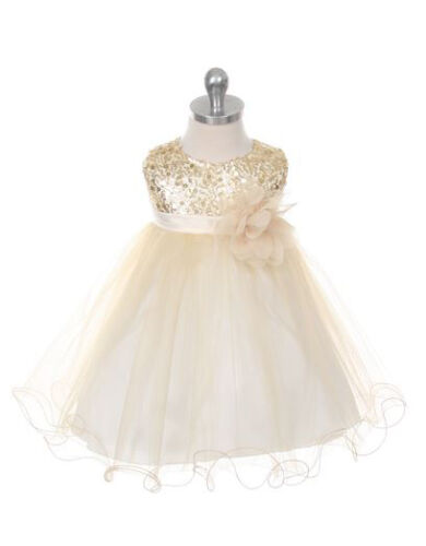 New Girls Sequins Flower Dress Party Pageant Easter Christmas Wedding Birthday
