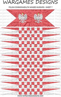 WECW DBR Sheet 7 10mm Polish Winged Hussar Flags x 22 FOG Pike /& Shotte
