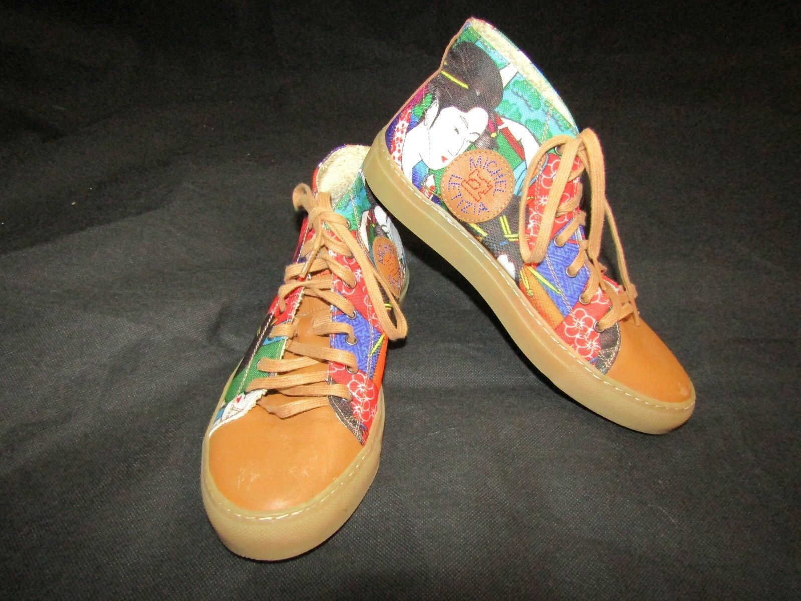 MICHEL LETIZIA marron Leather and Printed Canvas High Top baskets Taille 36 USA 6