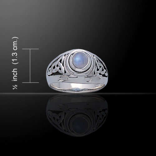Celtic Knotwork .925 Sterling Silver Ring with Choice of Gemstone Peter Stone