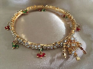 INDIAN ORIENTAL Diamante Rhinestone Gold Color Bangle Bracelet with Charms