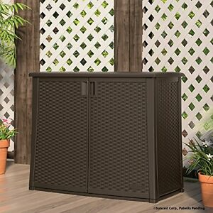 Image Is Loading Outdoor Storage Cabinet Resin Wicker Patio Garden Yard
