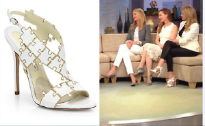 SUPER BEAUTIFUL  !!! BRIAN ATWOOD 'SOMMER'  BEAUTIFUL PUZZLE  WHITE SANDALS  US 7.5 9655ff