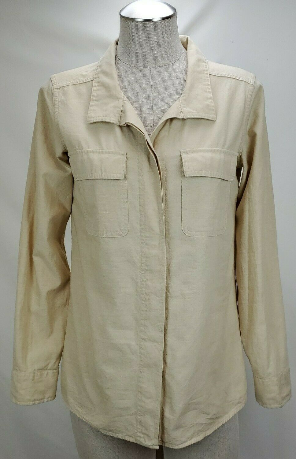 Patagonia Womens Organic Cotton Button Down Shirt Size 4 Small Ivory Long Sleeve