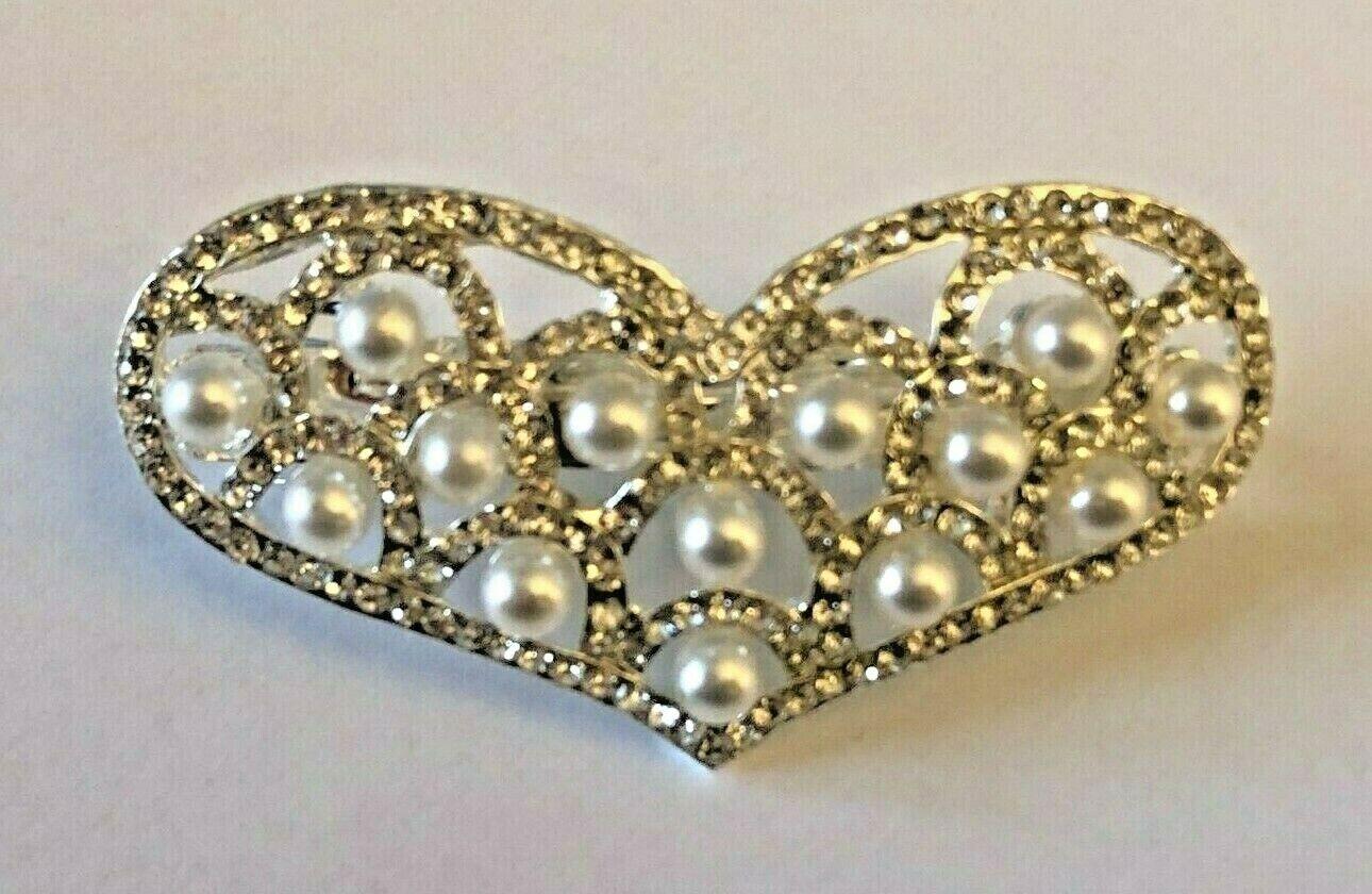 Silver Tone Crystal Diam & Simulated Pearl Heart Shaped Barrette Hair Clip Grip.