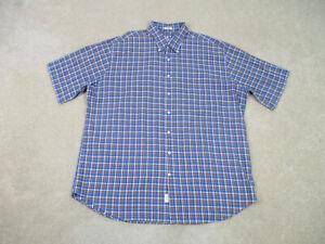 Peter Millar Button Up Shirt Adult 2XL XXL Blue Brown Plaid Casual Cotton Mens