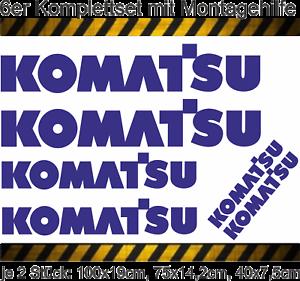 Montagehilfe Aufkleber KOMATSU Logo Bagger 6er Set