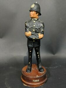 Antique-Dated-1935-Police-Models-Heavy-Resin-On-Wooden-Stand