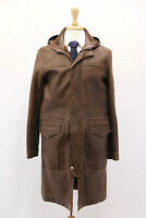 .nwt$9175 Brunello Cucinelli Men's Leather Brown Long Hooded Shearling Coat Sz M