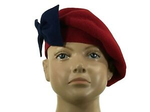 4134515d5 Details about Laulhere Children Wool French Beret Hat Coco Red with Blue  Bow 6 5/8 - France