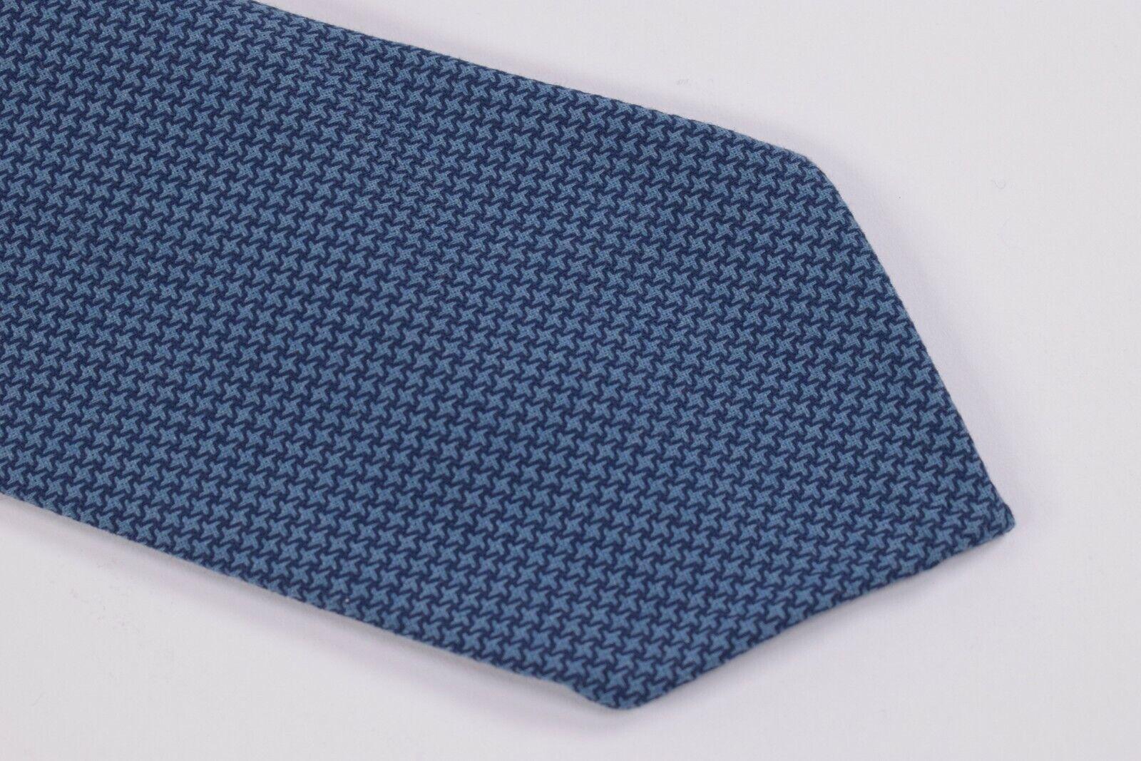 Belvest Neck Tie NWT Blue Houndstooth Cotton Blend