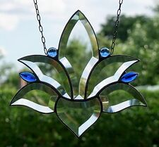 Bleiverglasung Bleiglas Fensterbild Facetten- Lotus Suncatcher in Tiffany