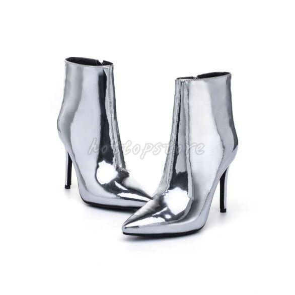 Damen Schuhe Pumps Stiletto Spitz Stiefeletten Sexy Nachtclub Gold Silber 34-48