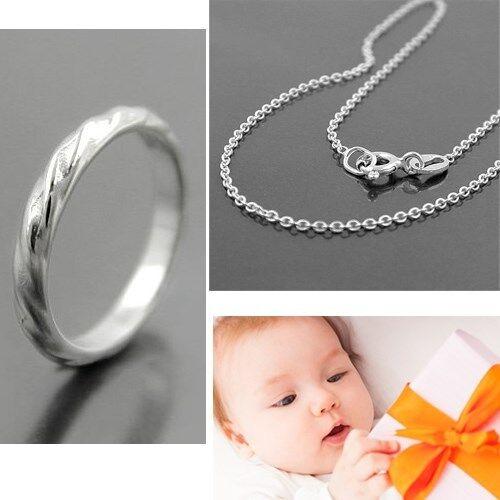 Baby Taufe Taufring Wellendesign ~ unendlich mit 38 cm Kette Echt Silber 925 Neu