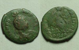 Rare original ancient coin Aelia Eudoxia wife of Arcadius Victory shield