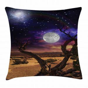 Moon Throw Pillow Case Desert Night Nebula Stars Square Cushion Cover 18 Inches Ebay