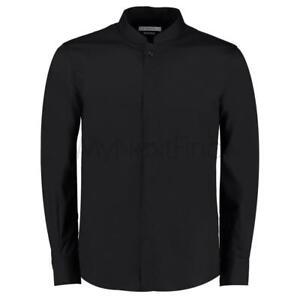 Kustom Kit Mandarin Collar Fitted Shirt Long Sleeve