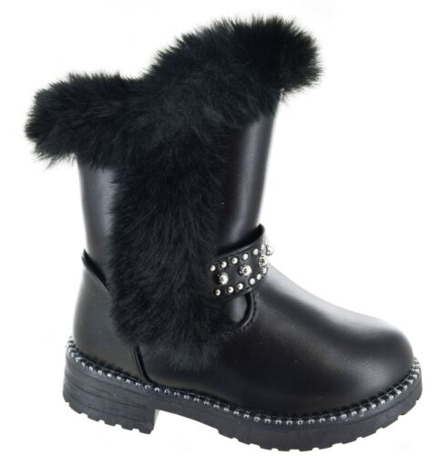 GIRLS INFANTS CHILDRENS ZIP STUDDED WARM COMFY BOOTS FASHION WINTER SHOES SIZE