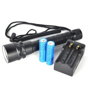 6000Lm-3XXM-L2-LED-100m-plongee-Lampe-de-poche-Torche-etanche-2X-18650-Chargeur