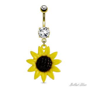 Belly-Ring-Gold-Navel-Piercing-Pendant-Sunflower-Yellow-Crystal-White