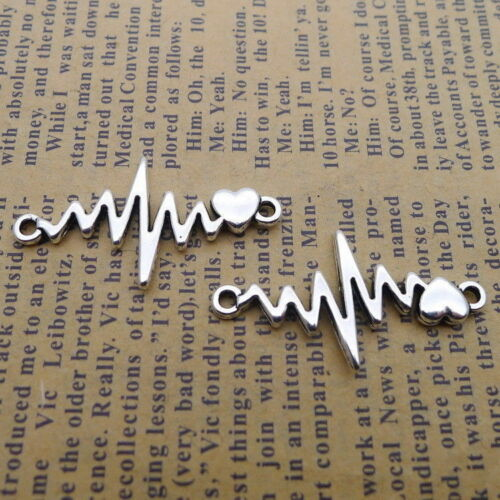 10pcs Creative Charms Heartbeat ECG Pattern Connector DIY Necklace 17x32mm