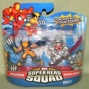 SUPER HERO SQUAD 2009 MARVEL WOLVERINE /& SILVER SAMUARI SET