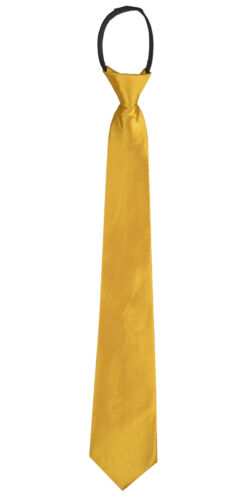 "Plain /""Gold/"" Polyester Men/'s 2 or 3 inch Woven Pre-tied Zipper Necktie"