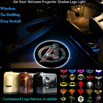 2x Wireless Car Door Laser Projector 3D Marvel The Avengers Logo CREE LED Light