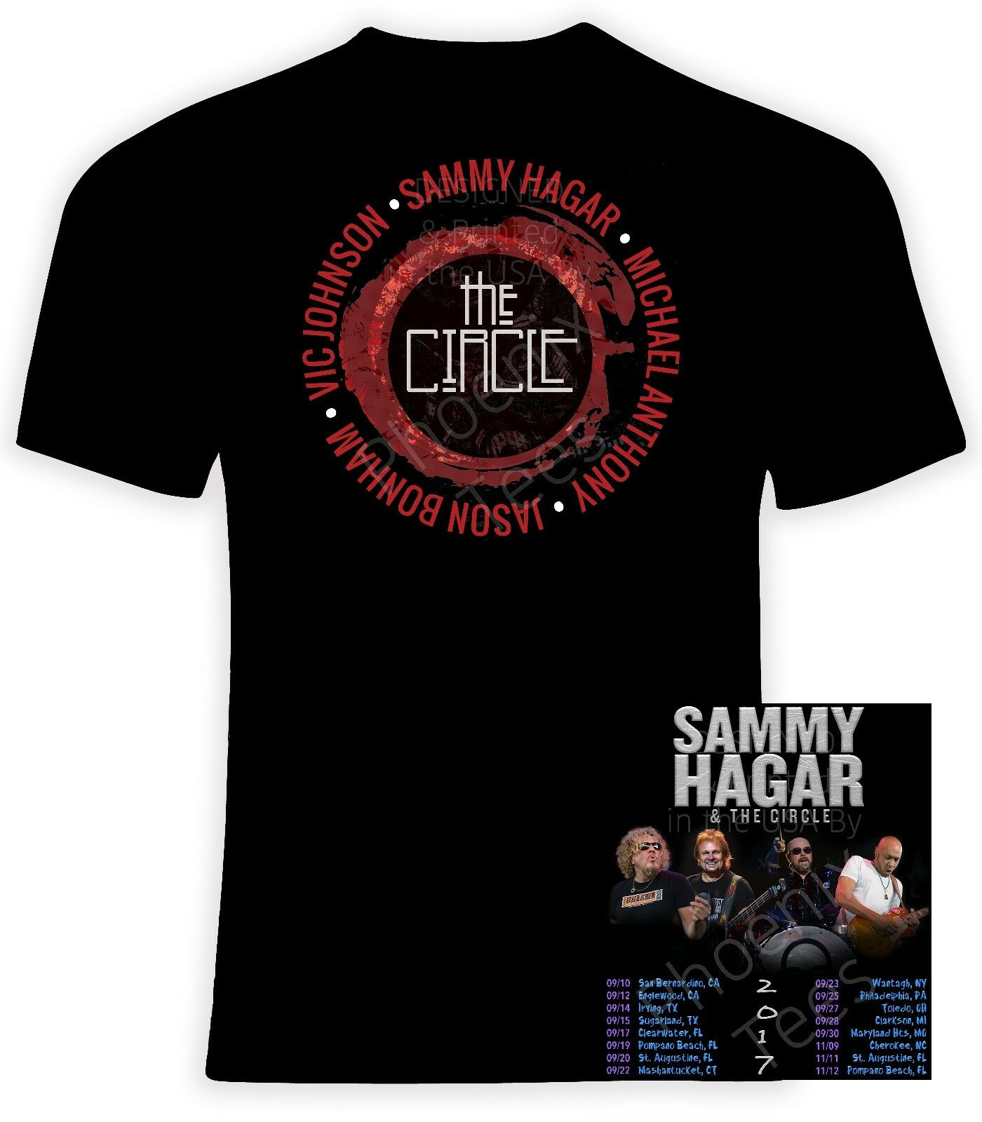 Sammy Hagar and the Circle 2017 Concert t shirt, Sizes S-6X, Short Long Sleeve