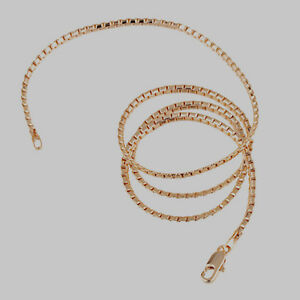 10K-Rose-Gold-Filled-GF-Solid-Box-Snake-Chain-Necklace-48cm-Long-2mm-Wide