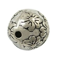 10 Antique Silver Round Beads - Flower - 13mm Acrylic Metal Look Spacer Beads