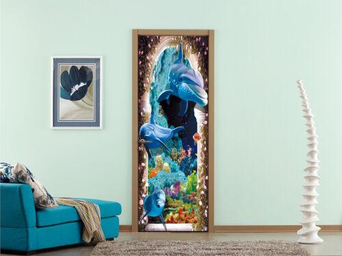 3D Arch Dolphins Self-adhesive Door Decor Sticker Bathroom Waterproof Decal