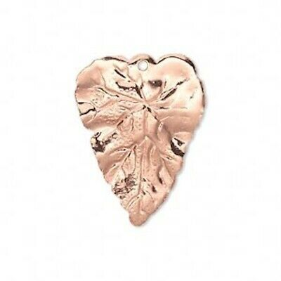 100 Antiqued Copper Plated Brass Double Sided Leaf Drop Charms 7x3.5mm Leaves