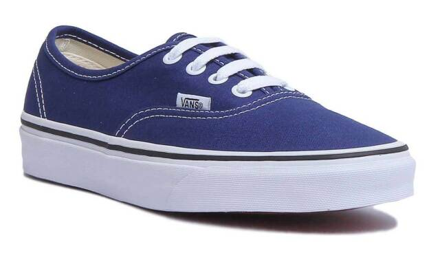 ac74bd9c9d9218 Mens VANS Authentic Trainers Estate Blue True White Trainers Shoes ...
