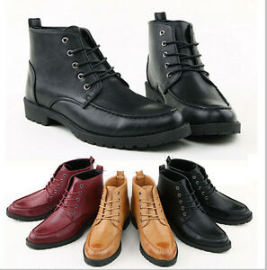Mens Casual Leather Lace Desert Military Hiking Ankle Boots High ...